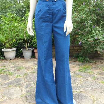 Vintage 70s Bell Bottoms / Sailor Pants / High Waist / Hippie / Mod / Bell Bottom / Size 10