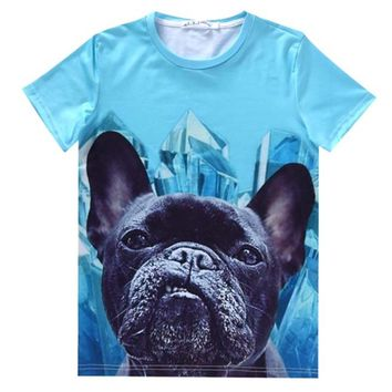 Black French Bulldog Face Graphic Print T-Shirt in Blue | Gifts for Dog Lovers