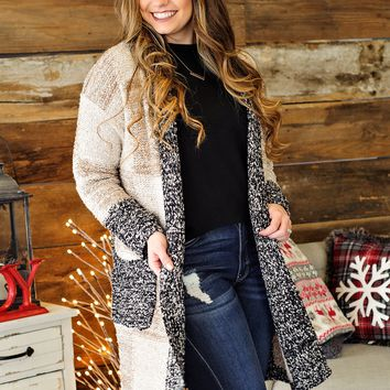 * Snowy Days Ahead Sweater Jacket - Taupes/Black