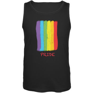 Gay Pride LGBT Vertical Pride Rainbow Black Adult Tank Top