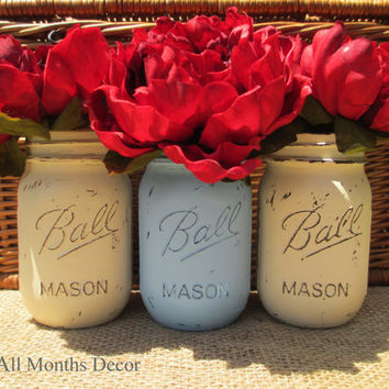 Set of 3 Painted Mason Jars in Cream & Baby Blue, Pint or Quart Size, Distressed Home Wedding Party Decor, Rustic Shabby Chic, Country