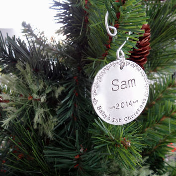 Baby's First Christmas Ornament - Custom Hand Stamped Ornament - 2014 Christmas Ornament - Snowflakes