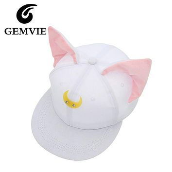 Pretty Soldier Sailor Moon Loona Same Style Baseball Hats Women Cute Cat Ears Hip Hop Snapback Casquette Gorras new year gifts