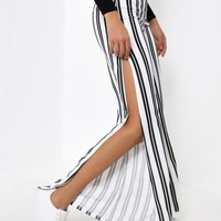 White Stripe O Ring Zip Flared Split Front Trousers