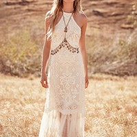 Free People Casablanca Lace Halter Gown