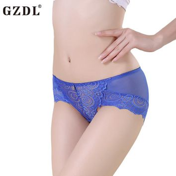 GZDL Fashion Women's Underwear female Lace Mesh Floral Ladies Sexy Thongs Panties Briefs french knickers Lingerie Calcinha NY203