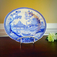 ROME SPODE Blue Room Transferware Plate, Vintage China Made in England Collectors Plate, Felix Vintage Market