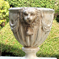 Garden Planter or Urn, Lion Head design, shabby chic decor, chalk painted, distressed and aged, gift for leo