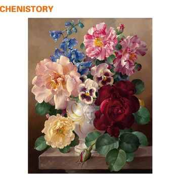 CHENISTORY Flowers DIY Painting By Numbers Acrylic Painting Calligraphy Modern Wall Art Canvas Painting For Home Decor Artwork