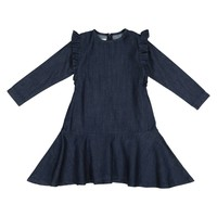 Teela Girls' Dark Denim Ruffle Dress