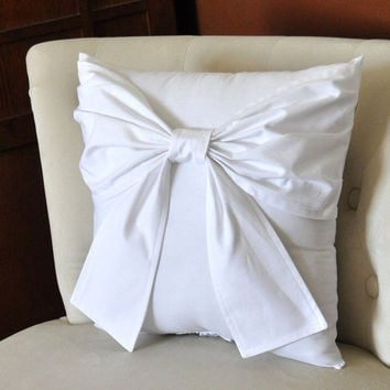 MOTHERS DAY SALE Throw Pillow White Big Bow Accent Pillow 14x14