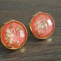 Faceted Peach melon Gold leaf silver tone stud earrings