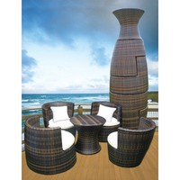 Deeco DM-GV-503 Art-Deck-Oh Geo Vase Interlocking All Weather Wicker Furniture Set