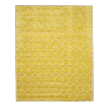 EORC Hand-tufted Wool Yellow Transitional Moroccan Moroccan Rug