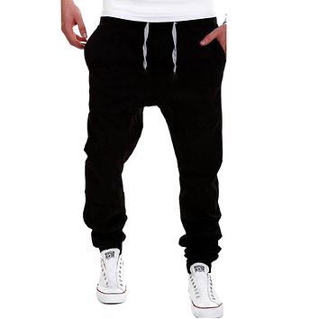 Fashion Men's Sports Pants Solid Color Drawstring Plus Size