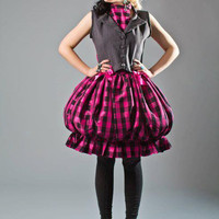 Pop Punk Skirt - SALE  High-waisted Pink Check Bubble Skirt and Matching Headbow SAMPLE Riot Reform