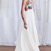 Beige Spaghetti Strap Floral Embroidered Maxi Dress