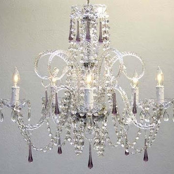 "Swarovski Crystal Trimmed Chandelier! Amethyst Purple Crystal Chandelier H25"" X W24"" - Go-A46-387/5Purple Sw"