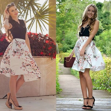 Women Vintage Style Peach Floral Print Pleated Midi Skirt High Waist Swing Skirt Ball Gown Skirt = 1931802180