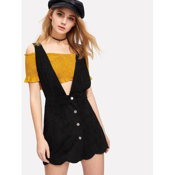 Suede Scallop Hem Overall Dress