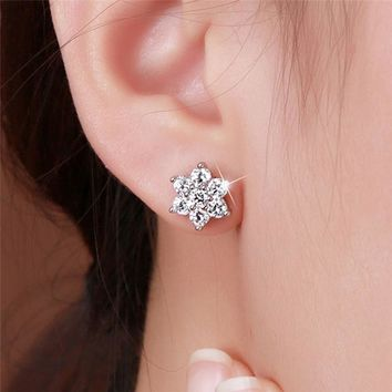 GS Simple Delicate Flower Tiny Cz Stone Gold Color Girls Earring 925 Sterling Silver Stud Earrings For Women Dainty Jewelry R5