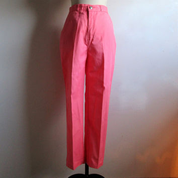 Vintage 80s Trouser Pink-Peach Gabardine Rebel Jeans Casual Spring Summer 1980s Pants Medium