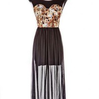 Leopard Bodice Dress with Long Sheer Skirt Overlay