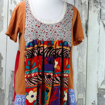 Gypsy Style,Tunic Top,Large to Xlarge,Bright Fall Colors,Hippie Style,Upcycled Clothing