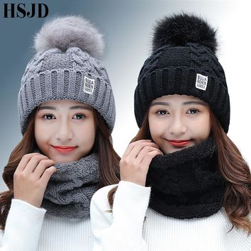 Girl Warm Ski new brand Big Fur pom poms ball Knitted hats scarf hat set Winter women Beanie Hat thick Skullies female cap