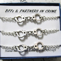 3x NF/LF Partners in Crime bracelet Rolo Chain, silver tone handcuff bracelets, Friendship quote gift