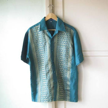 Stunning Vintage Thai Teal Silk Embroidered Men's Large Shirt; Short-Sleeve Bohemian Date/Event/Wedding Shirt; U.S. Shipping Included