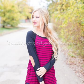 SWEETHEART WINE STRIPED TOP- Only 1 Small Left!