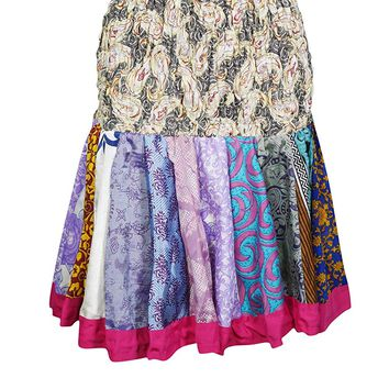 Mogul Interior Women's Silk Mini Colorfull Flirty Skater Skirts OneSize (Beige,Multi): Amazon.ca: Clothing & Accessories