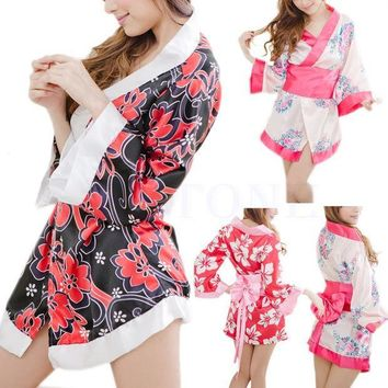 CREYET7 Sexy Floral Japanese Kimono Stage Sleepwear Lingerie Dress Bath Robe Nightgown