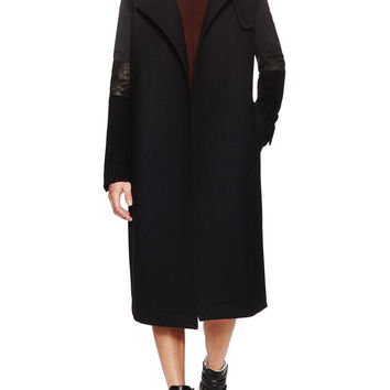 Rick Owens Men's Wool Tall Coat with Leather Trim - Black -