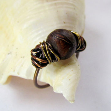 Agate Stone Copper Brass Ring, messy wire wrap, two tone, brown, asymmetrical, bohemian, earthy, Dzi Bead