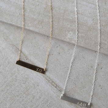Gold Bar Pendant Necklace Sorority - Phi Mu Zeta DDD KD Chi Omega Alpha Phi Gamma Phi Beta ZTA