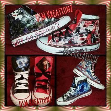 DCCK1IN custom harley quinn the joker converse all star chuck taylors