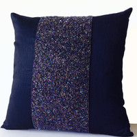 Navy Blue Beaded Sequin Pillows -Navy Silk Metallic Pillow Cover -Sparkle Pillow Gift -Embroidered Pillow -Multi Size -Wedding -Engagement