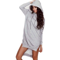 2015 Long  Women Hoodie Dress Moletom Feminino Irregular Long Pullovers Sweatshirts Women Plus Size Long Sleeve Hoody Dress Svit