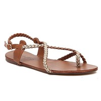 Women's Braided Sandal in Brown/Gold by Daytrip.