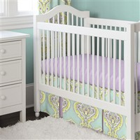 Aqua and Amethyst Laval Baby Crib Bedding