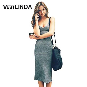 VESTLINDA Knitted Dress Side Split Midi Bodycon Dress Women Summer Brandy Melville Spaghetti Strap Sexy Deep V Neck Beach Dress