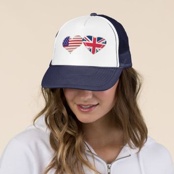 USA and UK Heart Flag Design Trucker Hat