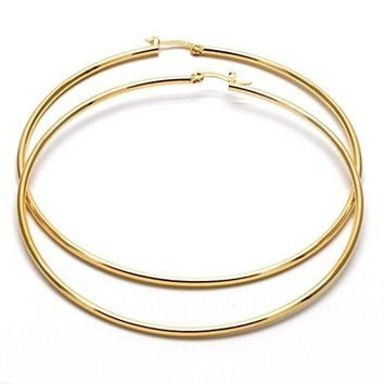 Big Hoops for women 14k Gold Filled Extra Large Hoop Earrings 80mm x 2mm yellow gold tone
