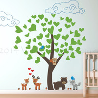 Playful woodland friends wall decal, decal, wall sticker, wall graphic , vinyl decal