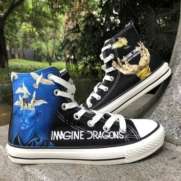 Wen Design Custom Hand Painted Sneakers Imagine Dragons Smoke + Mirrors Men Women's High Top Black Canvas Shoes