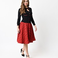 Retro Red & Black Dot High Waisted Thrills Circle Skirt