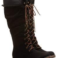 Black Faux Leather Calf Length Mountain Boots