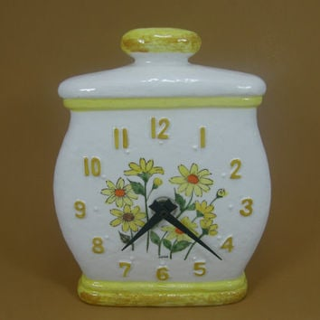 Ceramic Wall Clock, Yellow Daisy Cookie Jar, Sears Roebuck Kitchen Clock 1976